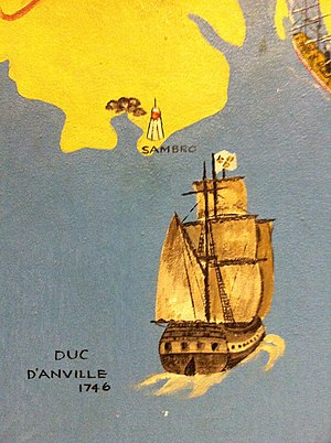 Duc d'Anville expedition - Duc D' Anville approaching Chebucto, Westin Hotel Murial (inset), Halifax, Nova Scotia