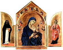 Small altarpiece with folding wings. Background of shining gold. Centre, the Virgin Mary in dark blue, holds the Christ Child. There is a standing saint in each side panel, the colours are rich and luminous, the figures are elongated and stylised.
