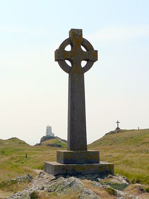 Dwynwen - The Celtic Cross erected in 1903, with the older cross in the background