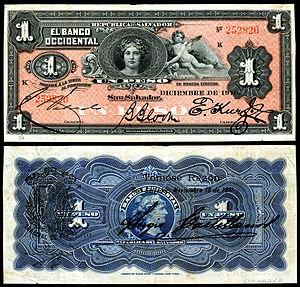 Salvadoran peso - Banco Occidental (private bank), 1 Peso (1910)