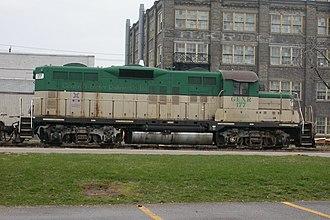 "Goderich–Exeter Railway - GEXR 177, ""Titania"", an EMD GP9."