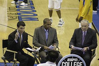 Rece Davis - Davis, left, on ESPN, alongside Hubert Davis (center) and Digger Phelps.