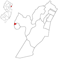 Map highlighting East Newark within Hudson County. Inset: Location of Hudson County highlighted in the State of New Jersey.