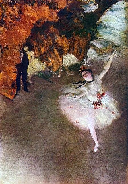 『踊りの花形(エトワール、あるいは舞台の踊り子とも呼ばれる)』(1878年頃) オルセー美術館。Wikipediaより。