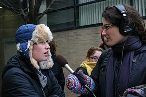WBEZ - A WBEZ reporter interviews a Shimer College student at a protest in 2010