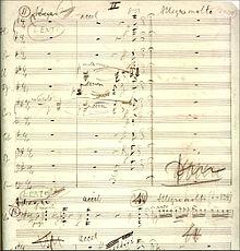 partitura musical manuscrita, desbotada com o tempo