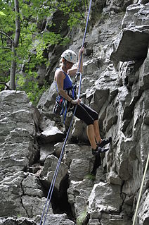 Abseiling Rope-controlled descent of a vertical surface