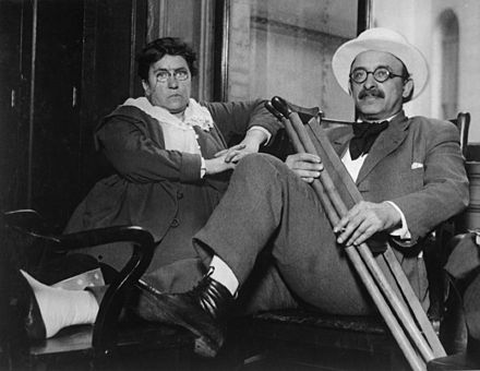 Goldman enjoyed a decades-long relationship with her lover Alexander Berkman. Photo c. 1917-1919. Emma Goldman and Alexander Berkman.jpg