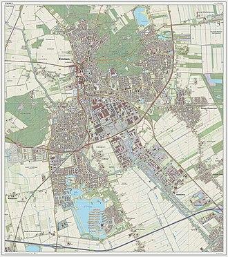 Emmen, Netherlands - Dutch Topographic map of Emmen (town), March 2014