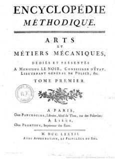 <i>Encyclopédie Méthodique</i> french Encyclopedia