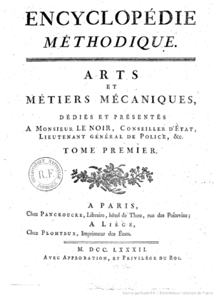 Encyclopédie Méthodique - First page of the Encyclopédie méthodique published in 1782 (Panckoucke, Paris).