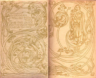 "Everyman's Library - Endpapers of the original 1906 run of the Everyman's Library. The art signed ""RLK"" is heavily based on that of William Morris and his Kelmscott Press, whereas the quotation is derived from the medieval play Everyman"