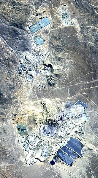 BHP - False colour satellite image of Escondida mine, Chile, courtesy of NASA.