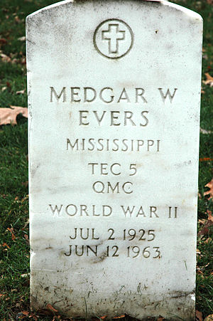 The grave marker of Medgar Evers, slain civil ...