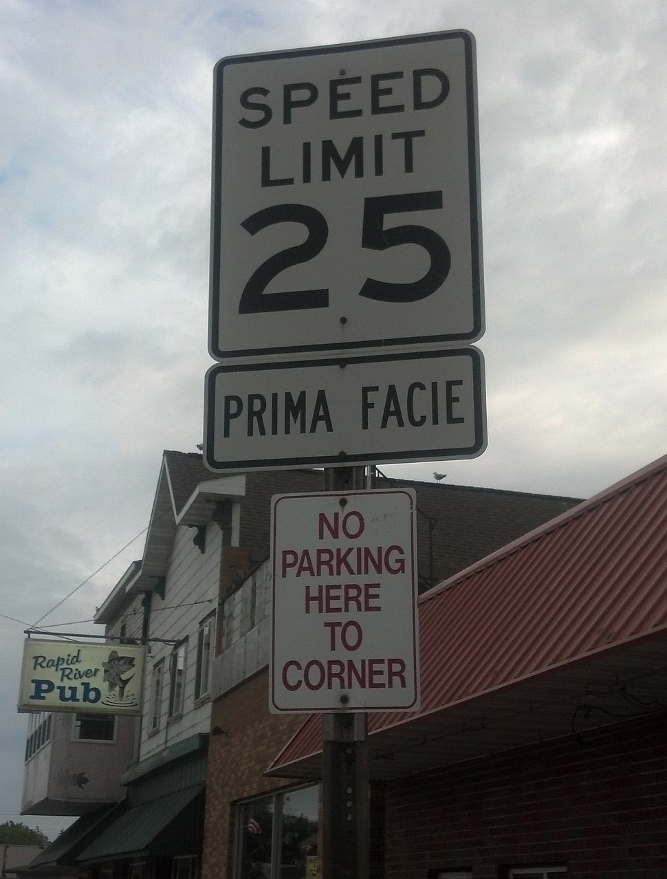 Example photo 1 of a prima facie speed limit - Rapid River, Michigan (United States)