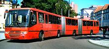 Red express bus (Expresso Biarticulado) in Curitiba, Brazil.