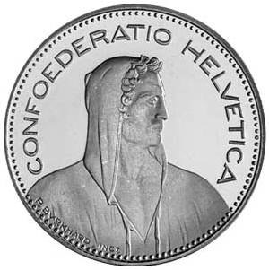 Helvetia - A Swiss five-franc coin with the Latin inscription Confoederatio Helvetica.