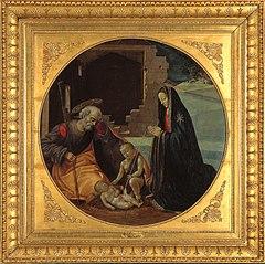 De madonna in aanbidding voor Christus met Jozef en Johannes