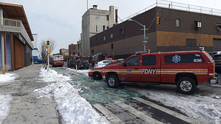 FDNY EMS Supervisor 936's Command pickup, a 2012 GMC Extended Crew Cab 4X4 Diesel Pickup XLS built by Odyssey Specialty Vehicles. FDNY Fire Engine fights the Brooklyn Paper Warehouse Fire (16420266492).jpg