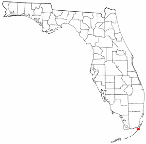 Key Largo - Location of Key Largo, Florida (red dot near bottom of the map)