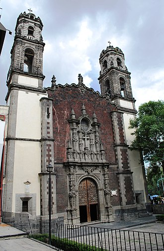 Santa Veracruz Church, Mexico City - Main facade of the church