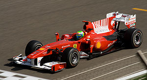 2010 Bahrain Grand Prix - Felipe Massa qualified second for Ferrari, behind polesitter Sebastian Vettel.