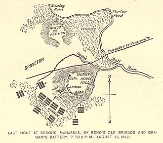 21st Regiment Massachusetts Volunteer Infantry - Position of Ferrero's Brigade during Union rear guard action at Henry House Hill