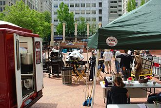Extraordinary Measures - Filming in May 2009 at Pioneer Courthouse Square in Portland, Oregon