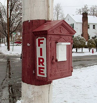 Fire alarm call box - Gamewell fire alarm box, Ridgewood, New Jersey