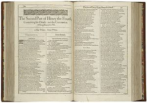 Henry IV, Part 2 - The first page of Henry the Fourth, Part II, printed in the First Folio of 1623