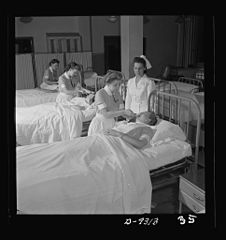 First-year students practice various sick-room techniques 8b08219v.jpg