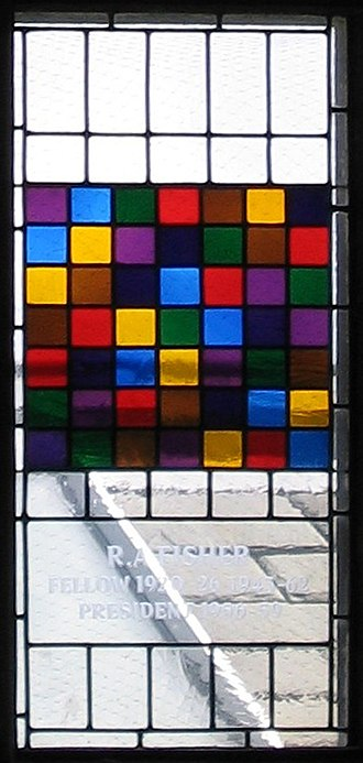 The Design of Experiments - Stained glass window in the dining hall of Caius College, in Cambridge, commemorating Ronald Fisher and representing a Latin square
