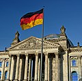 Flag of the Federal Republic of Germany before of the Reichstag. Berlin, Germany.jpg