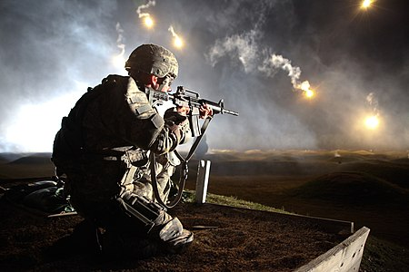 U.S. Army Sgt. Larry J. Isbell of Oklahoma City, representing the National Guard, watches his firing lane for targets during the M4 carbine Range Qualification event during the Department of the Army's 10th annual Best Warrior Competition held on Fort Lee, Va., Oct. 21.