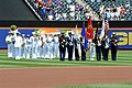 Flickr - Official U.S. Navy Imagery - The U.S. Navy Band Northeast performs the National Anthem and a color guard surrender colors before the 5th Annual Military Appreciation game at Citi Field during Fleet Week New York 2012..jpg