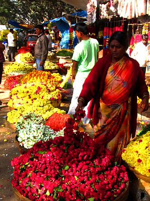 Flower seller - Flower Sellers in Madiwala Market, Bangalore, India