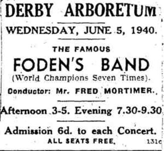 Foden's Band - Seven-times World Champions Fodens Band 1940 advert conductor: Fred Mortimer