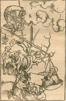 Una scala gigante contiene il papa con un certificato recante il sigillo papale e un altro uomo da un lato superato da una figura barbuta che consegna un altro certificato a figure inginocchiate.  Figure di animali stanno ricevendo gli attestati del papa.