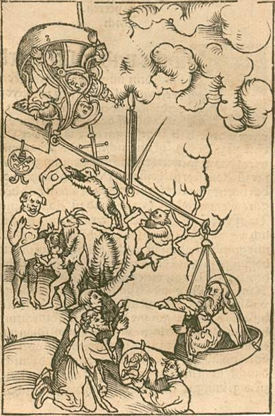 A giant scale holds the pope with a certificate bearing the papal seal and another man on one side being outweighed on the other side by a bearded figure handing another certificate to kneeling figures. Animal figures are receiving the pope