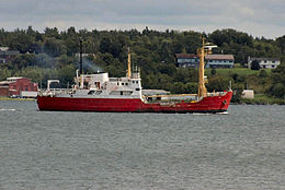 Former CCGS Simcoe makes its way upstream on the St. Lawrence River enroute to Northern Georgian Bay.jpg