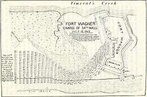 Second Battle of Fort Wagner - Map of the charge of the 54th Massachusetts