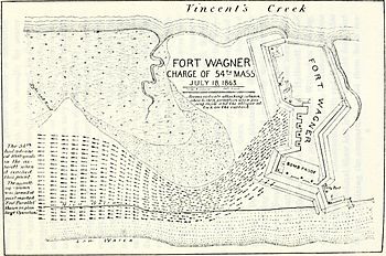 Map of the charge of the 54th Massachusetts on...