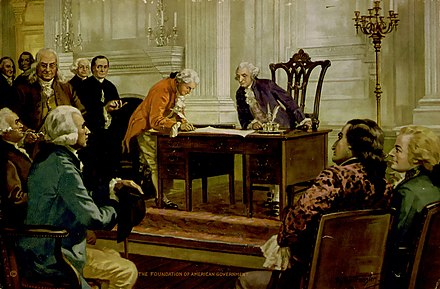Gouverneur Morris signs the Constitution before Washington. Franklin is behind Morris. Painting by Hintermeister, 1925. Foundation of the American Government by Henry Hintermeister.jpg