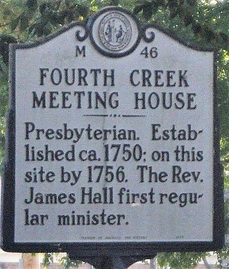 Fourth Creek Congregation - Highway Marker 46 for the site of the Fourth Creek Meeting House