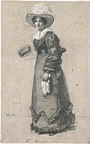 Louise Marie-Jeanne Hersent-Mauduit - Sketch of Mme Hersent by François Joseph Heim for his large group portrait of artists featuring Charles X Distributing Awards to Artists Exhibiting at the Salon of 1824 at the Louvre, 1827, Louvre