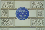 Frances Burnett's blue plaque in central London