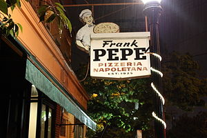 Wooster Square - Exterior of Pepe's, one of several Wooster Square pizzerias.