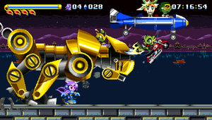 Freedom Planet - Lilac fights one of the game's bosses, Serpentine, while Carol assists her with attacks and Milla with extra health.