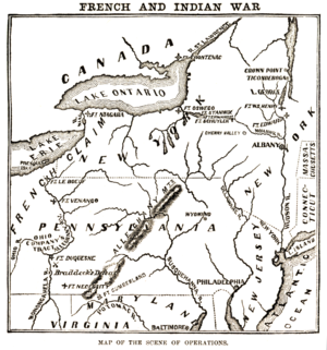Battle of Ticonderoga (1759) - Map showing the overlapping French and British claims in New York and Pennsylvania