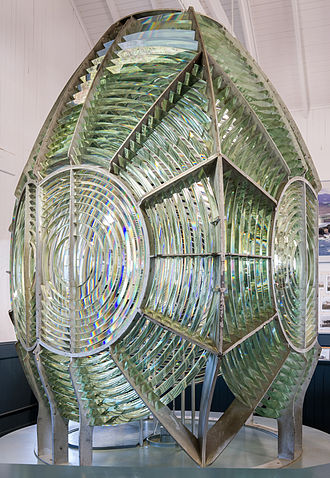 Fresnel lens - First-order lighthouse Fresnel lens, on display at the Point Arena Lighthouse Museum, Point Arena Lighthouse, Mendocino County, California